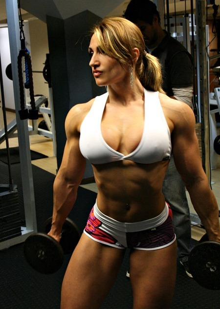 muscle girl working out